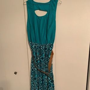 Women's teal green maxi dress